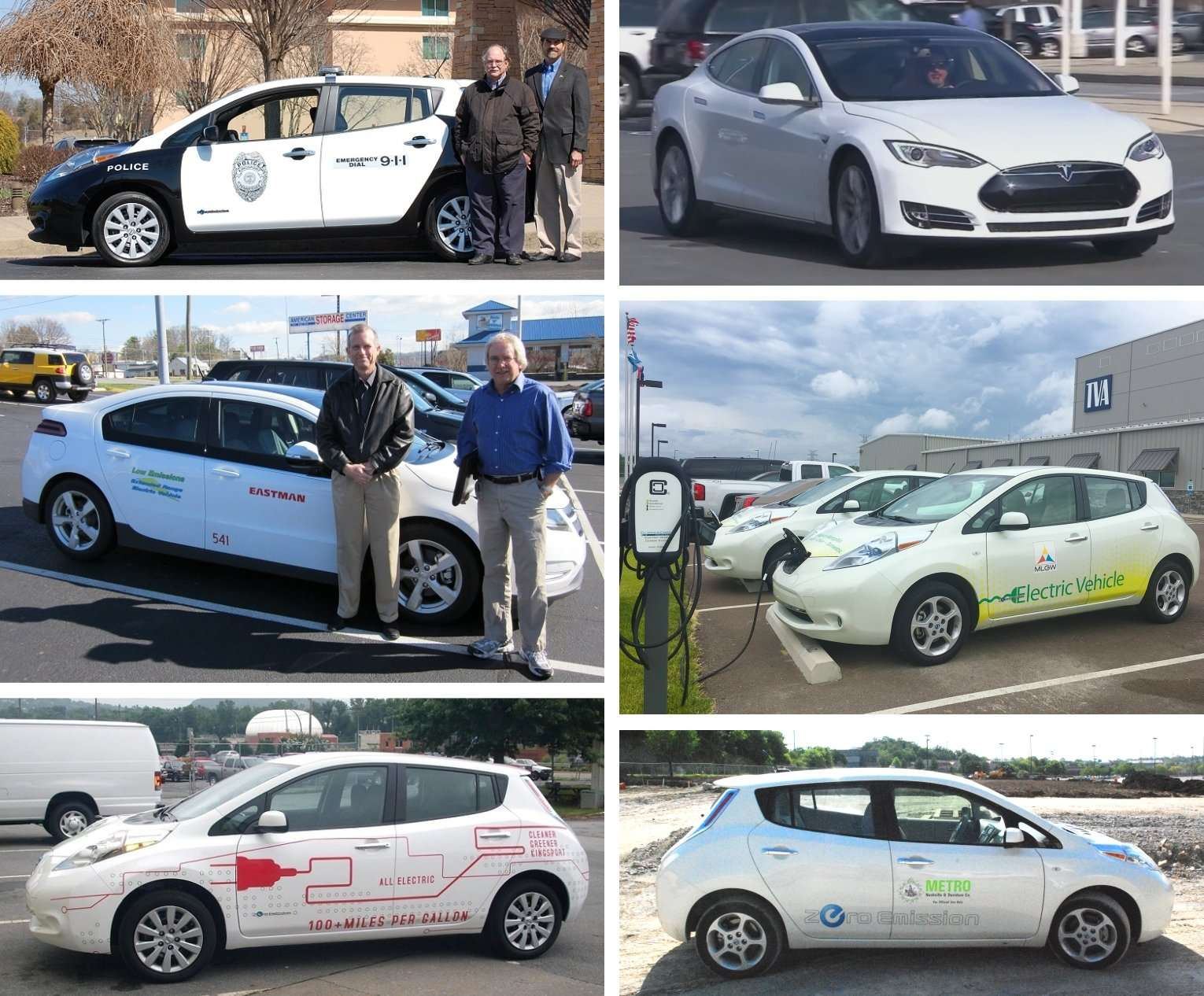 Grid of 6 photos of Plug-In Electric Vehicles in Tennessee