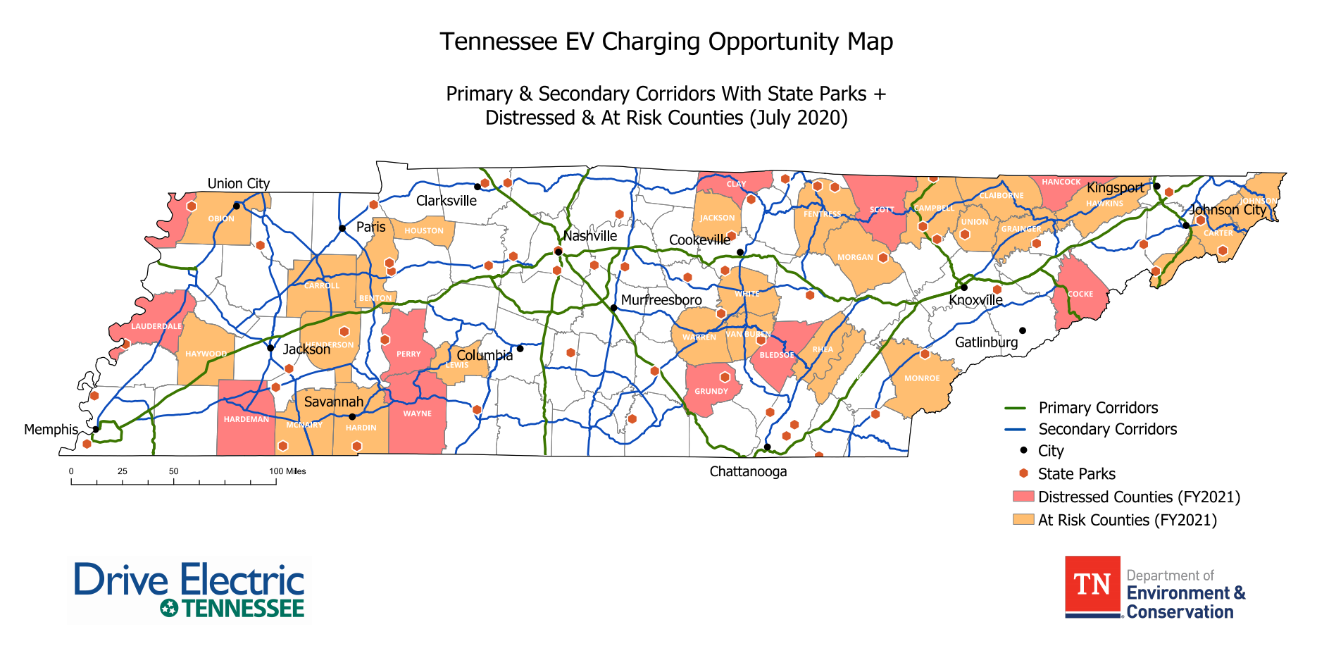 Opportunities for EV chargers in distressed and at risk counties, Tennessee map