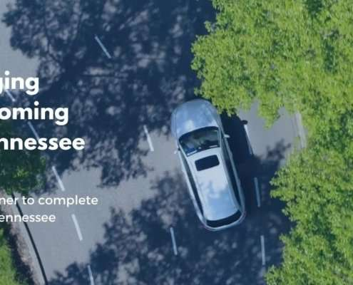 EV Driving through tree-covered road, Fast Charging Network Coming soon to TN