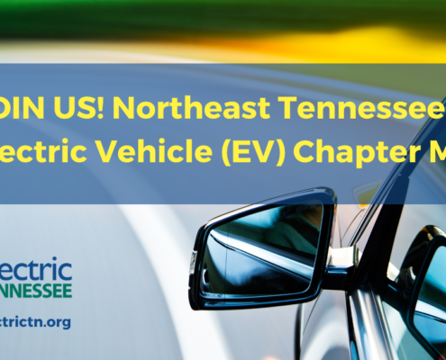Car driving on road; 'JOIN US! Northeast Tennessee's First Electric Vehicle (EV) Chapter Meeting'