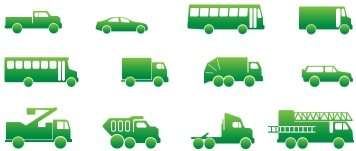 clip art icons of various vehicles, green