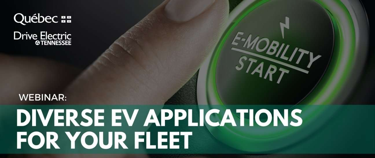 Finger pushing 'E-mobility start' button: 'Webinar: Diverse EV Applications for your Fleet'