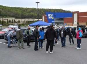 Members of the Appalachian Highlands DET Chapter at Drive Electric Earth Day event