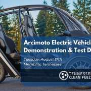"""Arcimoto brand """"fun utility vehicle"""" in the abckground with text """"Arcimoto Electric Vehicle Demonstration & Test Drive, Tuesday, August 17, Memphis, Tennessee"""""""
