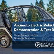 """Arcimoto brand """"fun utility vehicle"""" in the background with text, """"Arcimoto Electric Vehicle Demonstration & Test Drive, Thursday, August 19, Nashville, Tennessee"""""""