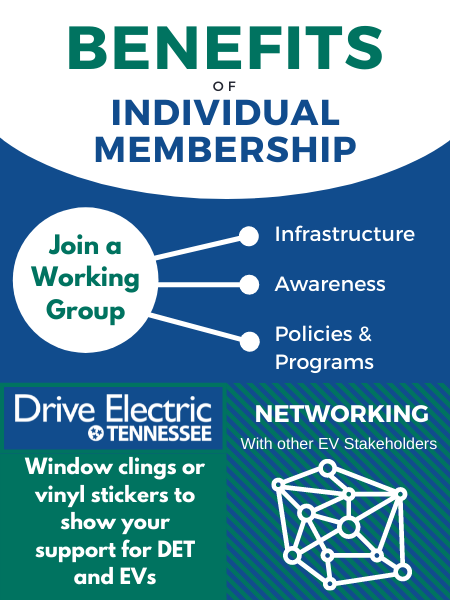 Benefits of individual membership: Join a Working Group (Infrastructure, Awareness, Policies & Programs), DET window clings or vinyl stickers to show your support for DET and EVs, Networking with other EV stakeholders