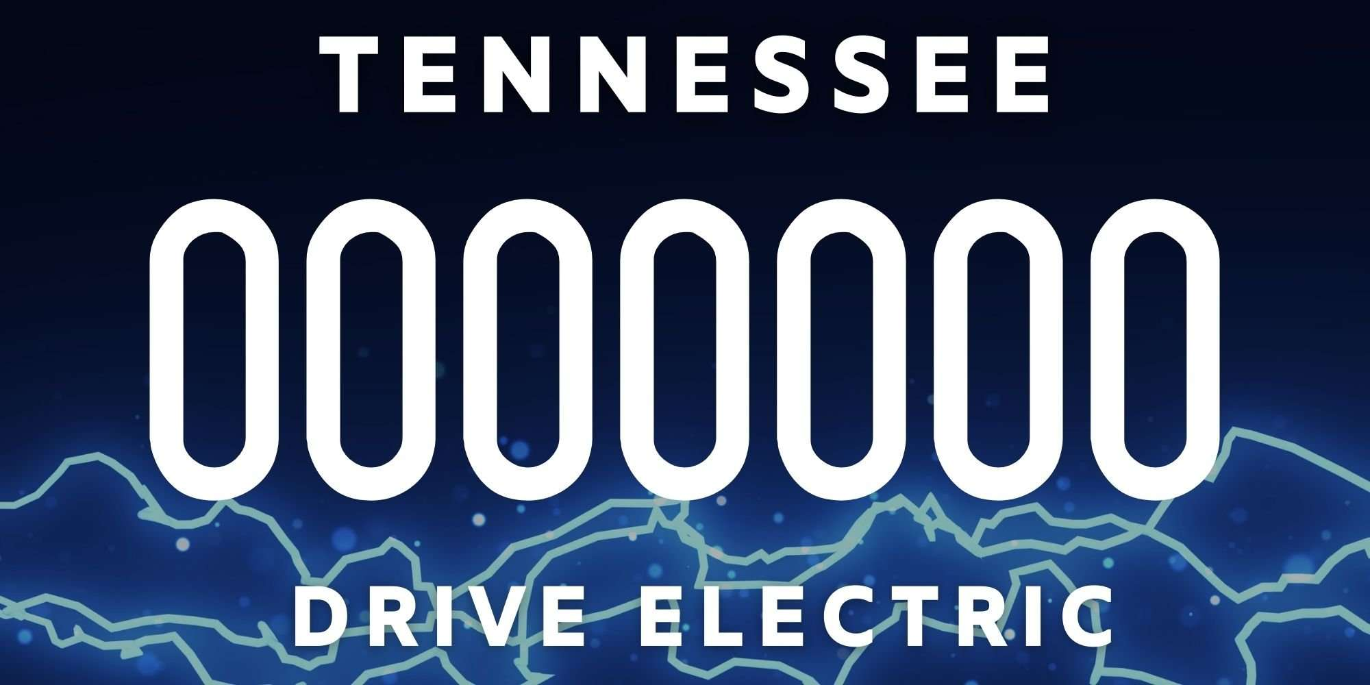 DriveElectricTN electric vehicle license plate design, navy blue at the top going into lighter blue at the bottom with blue and white electricity