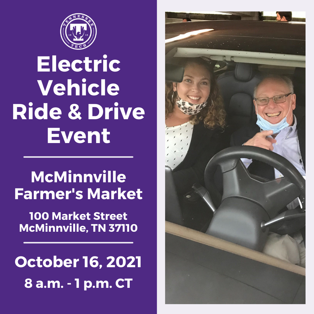"""Left half: Purple background with white text that reads, """"Electric Vehicle Ride & Drive Event, McMinnville Farmer's Market, 100 Market Street McMinnville, TN 37110, October 16, 2021, 8 a.m. - 1 p.m. CT."""" Right half: Image of two people sitting inside an EV, smiling through the windshield."""